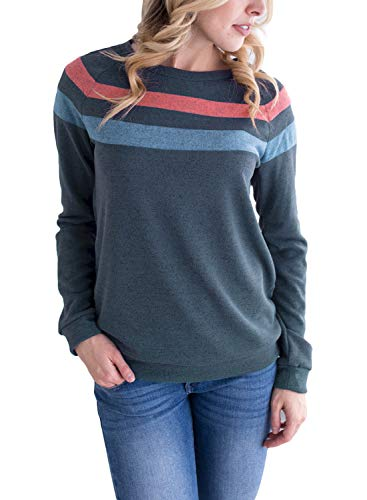 Dokotoo Womens Sweatshirt Ladies Sweatshirts Tunic Striped Navy Casual Lightweight Sweatshirt Pullovers Medium