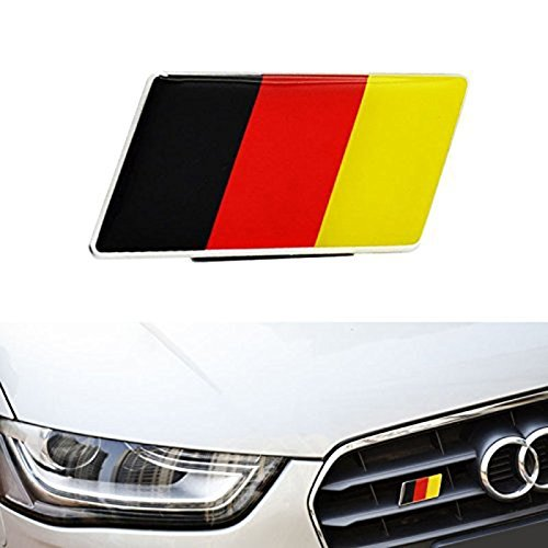 Flag Grille - Germany Flag Front Grille Emblem Badge Fit Germany Car for Audi BMW Mercedes Porsche Volkswagen A1 A2 A3 S3 RS3 A4 S4 RS4 A5 S5 RS5 A6 S6 RS6 Allroad A7 U2123 A8 S8 Q5 Q7 Quattro Coupe GT R8 GT TT TT