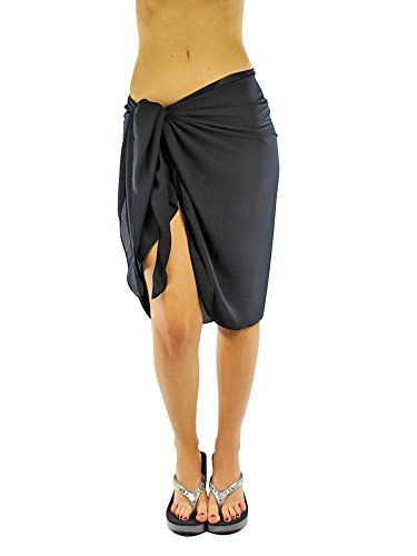 Luxury Divas Sheer Black Knee Length Cover Up Sarong Wrap for ()