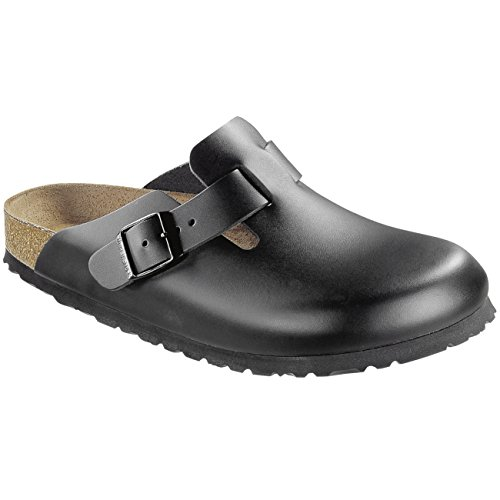 Birkenstock Men's Boston Black Leather Clogs 38 (Normal) (Professional Clogs Birkenstock)