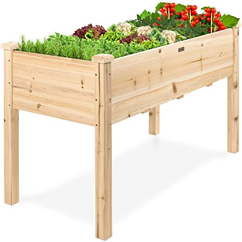 Best Choice Products 48x24x30in Raised Garden Bed, Elevated Wood Planter Box Stand for Backyard, Patio, Balcony w/Bed…