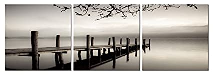 Pyradecor Peace 3 Panels Black And White Landscape Giclee Canvas Prints On Wall Art Modern