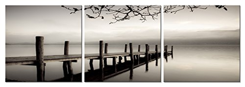 Affordable Artwork Decor - Pyradecor Peace 3 Panels Black and White Landscape Giclee Canvas Prints on Canvas Wall Art Modern Stretched and Framed Pictures Paintings Artwork for Living Room Bedroom Home Décor