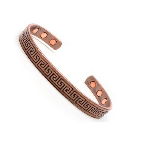Men's Magnetic Copper Golf Bangle Cuff Bracelet Aztec