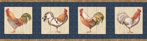 Rooster Farming Farm Country Barnyard Animal Wallpaper Border - Blue