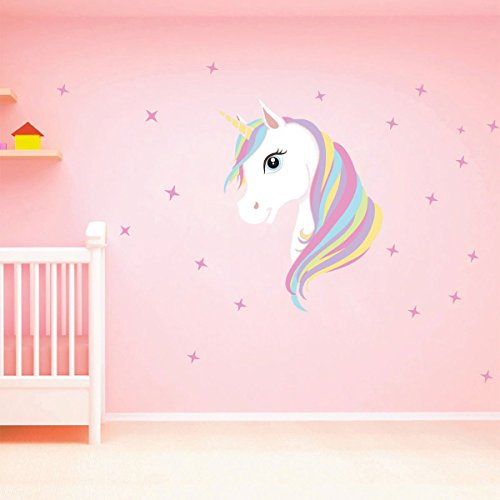 Unicorn Mural - CHICTRY Unicorn Wall Decals Cute Bling Stars Wall Art Stickers Removal Vinyl Wall Sticker Decal DIY Kids Girls Bedroom Home Nursery Room Wall Mural Decor