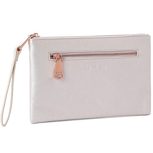 (Large Wristlet for Women,U+U Soft PU Leather Clutch Wallets with Power Bank,Hangbags for iphone 7 Plus Case, White)