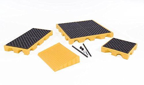 UltraTech 1089 Polyethylene Loading Ramp 600 lbs Capacity Yellow 5 Year Warranty for Ultra-Spill Deck P6 and P8