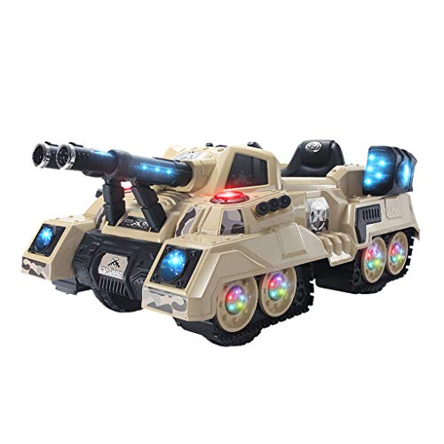 Kids Ride-On Truck Car Tank Car Electric Remote Control Truck Kids Toddler Ride On Cars for Leather Seat Children Toy 2.4G Crawler Military Truck Manned Tank Car(Khaki)