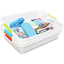 Set of 4 White Plastic Storage Baskets Organizer with Assorted Colored Handles,15 x 10.2 x 3.2-inch