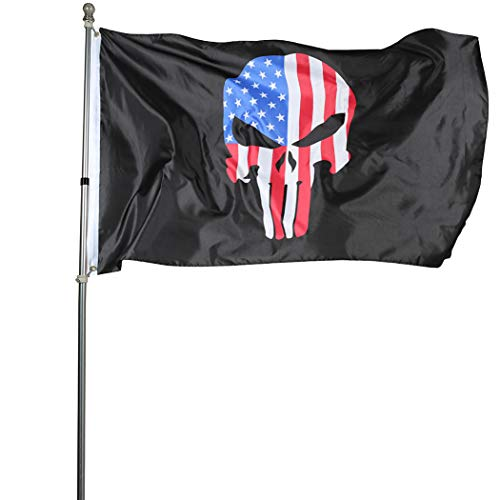 - ROTERDON Punisher Skull Police Flags - 3x5 Thin Red Line Memorial Indoors Lightweight Polyester US Flag