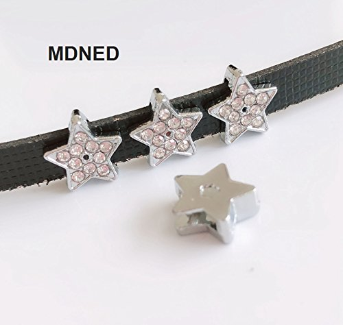 50PCS 8MM Full Rhinestone Star Charms Slide Charms Letters Fit 8mm Belts (Star Slide Charm)
