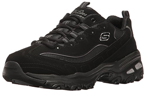 Skechers Sport Women's D'Lites Memory Foam Lace-up Sneaker,Black,8.5 W US by Skechers