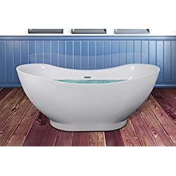 "AKDY 67"" Bathroom Oval White Color FreeStanding Acrylic Shower Soaking Bathtub"