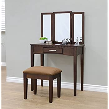 Amazon Com Tribesigns Wood Makeup Vanity Table Set With 3