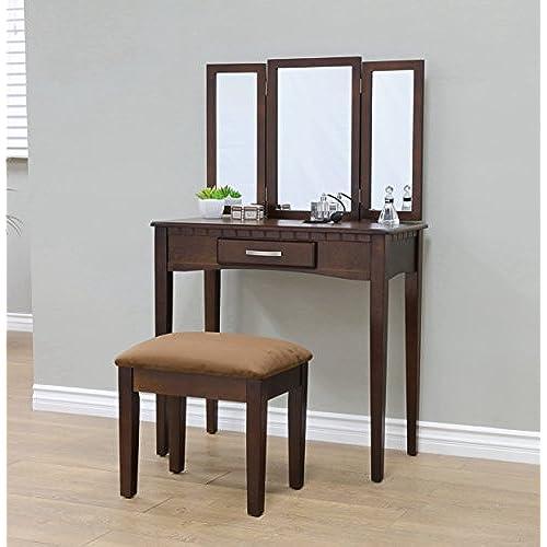 Frenchi Home Furnishing 2 Piece Home Furnishing Stool Set   Vanity  Espresso. Dressing Tables  Amazon com