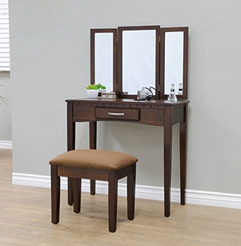 Frenchi Home Furnishing 2 Piece Home Furnishing Stool Set & Vanity, Espresso (Bench Wide Upholstered)