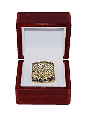 ST. LOUIS RAMS (Kurt Warner) 2000 SUPER BOWL XXXIV WORLD CHAMPIONS (Vs. Titans) Rare & Collectible Replica National Football League Gold NFL Championship Ring with Cherrywood Display Box