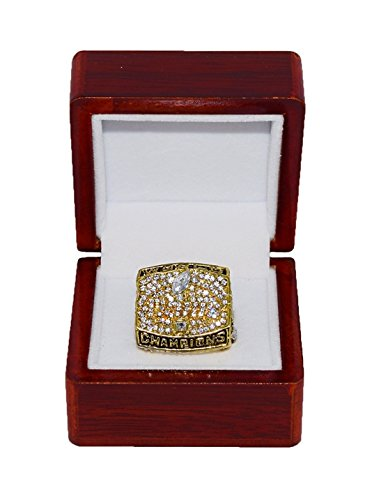 - ST. LOUIS RAMS (Kurt Warner) 2000 SUPER BOWL XXXIV WORLD CHAMPIONS (Vs. Titans) Rare & Collectible Replica National Football League Gold NFL Championship Ring with Cherrywood Display Box