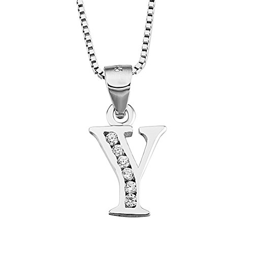 (S925 Sterling Silver Cubic Zirconia 26 Letters Alphabet Personalized Charm Pendant Necklace (Alphabet)