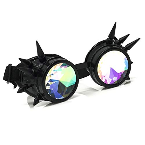 3D Rainbow Prism Kaleidoscope Rave Glasses, Diffraction Steampunk Goggles, Black Spikes