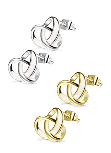 Udalyn 2 Pairs 20G Twisted Love Knot Earring Stainless Steel Heart Post Earrings For Women Girls Gold-tone