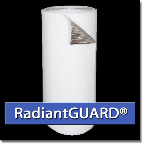 RadiantGUARD SINGLE Bubble White Concrete Insulation 48-inch by 125 linear feet (500 square feet) Reflective Aluminum Bubble Wrap Pack Metal Building Vapor Barrier Insulation - BLOCKs 94% Radiant Heat by RadiantGUARD