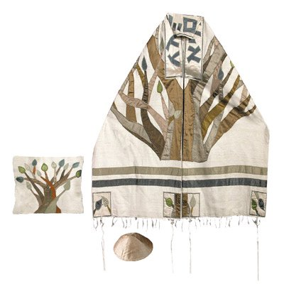Tallit Prayer Shawl Gadol + Bag + Kippah + Atara Set - Yair Emanuel EMBROIDERED RAW SILK TREE OF LIFE -34 (Bundle)