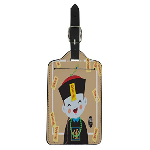 Pinbeam Luggage Tag Ghost Cute Chinese Zombie Vampire Cartoon Character Caption Suitcase Baggage -