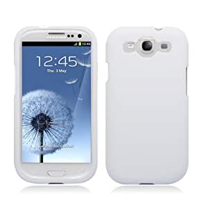 Rubberized Plastic White Hard Cover Snap On Case For Samsung Galaxy S3 III i9300 i747 (StopAndAccessorize)