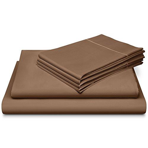 DREAM CASTLE 800 Thread Count 100% Cotton Sheet Set Bonus Pillowcases, Soft Sateen Weave Marrow Hem, 6-Piece King Sheet Sets, Deep Pockets,Hotel Collection, Taupe (800tc Pillowcases)