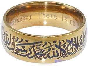 Men women gold plated Muslim Allah Shahada stainless steel Arabic Messenger Gift ring