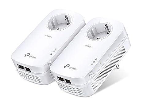 TP-Link TL-PA9020PKIT AV2000 - Adaptador de red Gigabit Powerline (2000 Mbps, MU-MIMO, 2 puertos Gigabit, toma de corriente, HDTV, ahorro de energía, ...