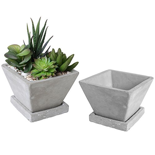 - Trapezoid Shaped Clay Mini Succulent Planters, Cactus Pots with Square Saucers, Set of 2, Gray