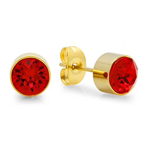 7mm Red Crystal Gold Tone January Birthstone Stud Earrings (Birthstone Earrings January 7mm)