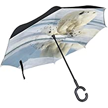 La Random Mother Bear With Two Cubs Inverted Umbrella Double Layer Windproof UV Protection Compact Car Reverse Umbrella