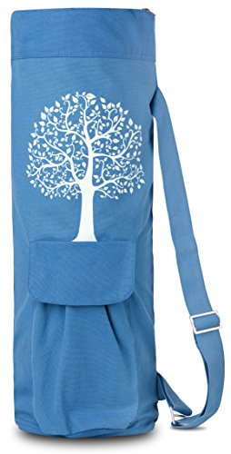 BalanceFrom GoYoga Full Zip Exercise Yoga Mat Bag with Multi-Functional Storage Pockets [Fits Both 1/2-Inch and 1/4-Inch Thick Mats] (Blue)