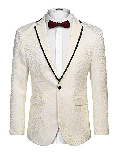 COOFANDY Men's Rose Floral Suit Jacket Blazer Weddings Prom Party Dinner Tuxedo