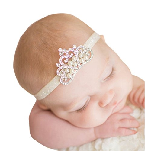 Fullkang Crown Hairband Princess Baby Girl Crystal Pearl Crown Headband (white)]()