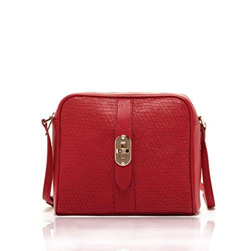 Susu Red Leather Crossbody Bags For Women Mermaid Fishskin Purse Long Strap Crossover Bags Light Gold Designer Handbags Medium Size Across The Body Cute Womens Purses Best Genuine Leather Shoulder Bag