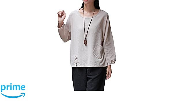 EASTHER Women's 34 Sleeve Cotton Linen Button Casual Loose Blouses Top T Shirt