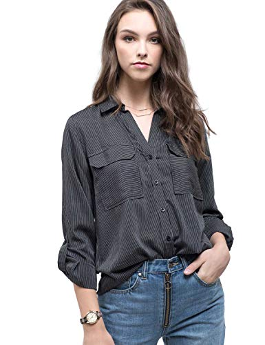 Blu Pepper Women's Button Down Collared Woven Top with Cuffed Sleeves-IVOBLK-S Ivory Black (Ivory Silk Pepper And)