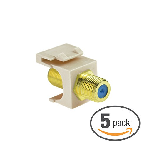 (Mediabridge Coaxial Keystone Jack (Almond) - Gold-Plated RG6 Insert for Keystone Wall Plate - 5 Pack (Part# 51J-F81-WH-5PK ))