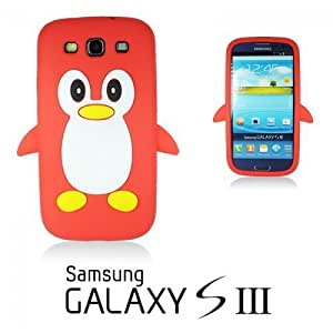 OnlineBestDigital - Penguin Style Soft Silicone Case for Samsung Galaxy S3 III I9300 - Red with 3 Screen Protectors and Stylus