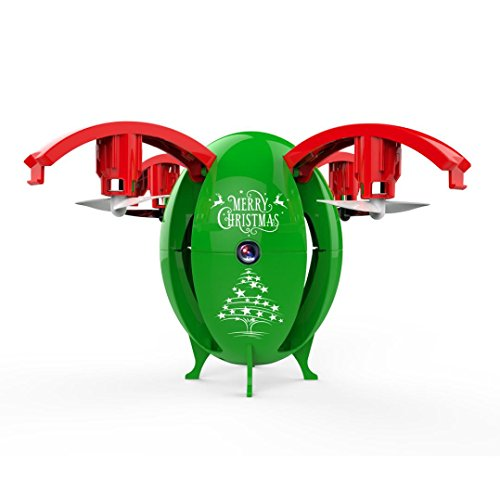 Gbell Foldable Transformable Egg Pocket Drone - 2.4G One Key Return Headless Mode RC Quadcopter UAV Christmas Gift for Kids,Green Red (Green) by Gbell