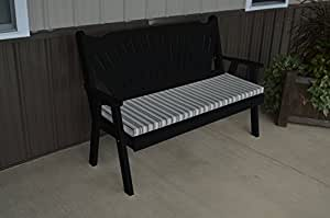 Classic Outdoor 4 Foot Fanback Garden Bench - PAINTED- Amish Made USA -Black