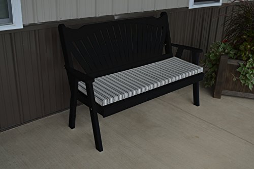 Classic Outdoor 5 Foot Fanback Garden Bench - Painted- Amish Made USA -Black