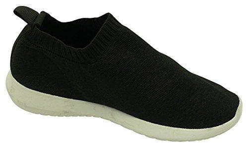 Cambridge Välj Kvinna Låg Topp Lätt Andas Stretch Sticka Strumpa Mode Sneaker Svart / Svart