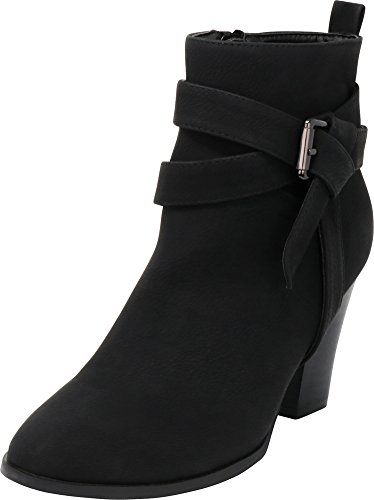 Cambridge Select Women's Closed Toe Wraparound Strappy Knot Buckle Chunky Stacked Block Heel Ankle Bootie,7.5 B(M) US,Black Nbpu (Wrap Around Buckle)