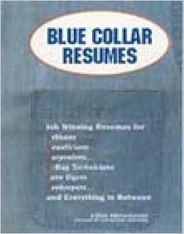 Amazon Com Blue Collar Resumes 9781564144126 Steven Provenzano